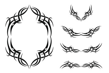 Set of five tribal tattoos (with frame and borders). Isolated black vector illustration on white background