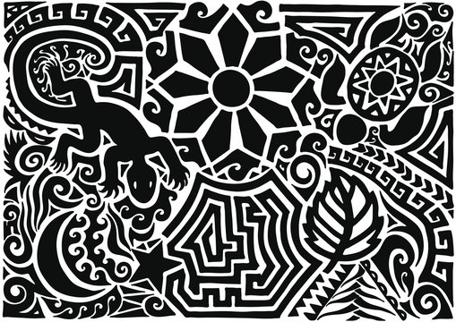 Hand drawn black tattoo pattern in maori style with turtle, sun or flower, leaf, moon, star and lizard on white background. Black isolated decorative backdrop vector illustration