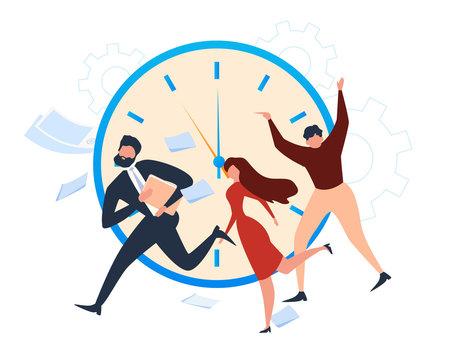 Cartoon People Office Worker Run Deadline Alarm