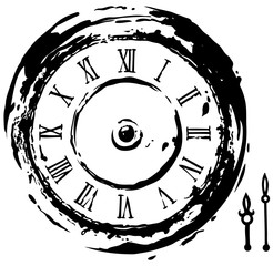 Graphic black retro vintage clock with arrows and roman numeral. Line art style. Isolated on white background. Vector icon.