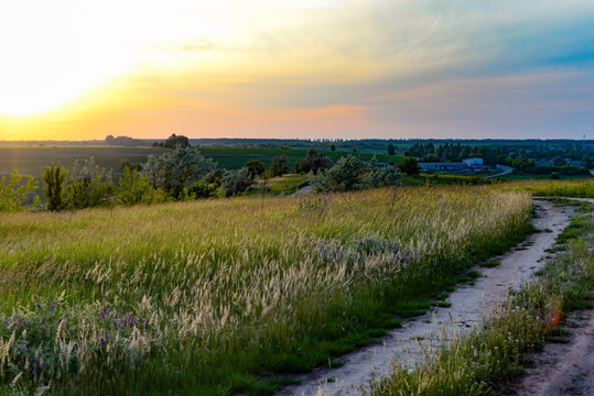 Sunset over the wild fields