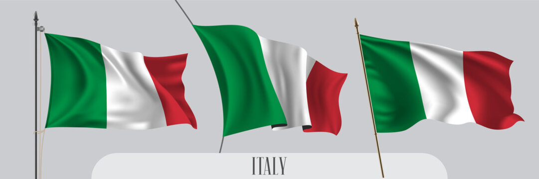 Set of Italy waving flag on isolated background vector illustration