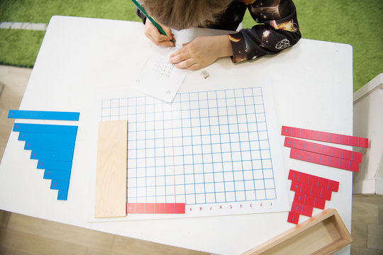 Materials for teaching children to count. Numbers. Montessori methodology school. Geometry and mathematics materials.