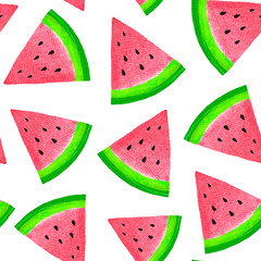 Seamless pattern with watermelon. Watercolor hand drawn illustration