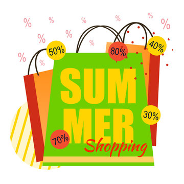 Summer Shopping and Various Discount Flat Banner