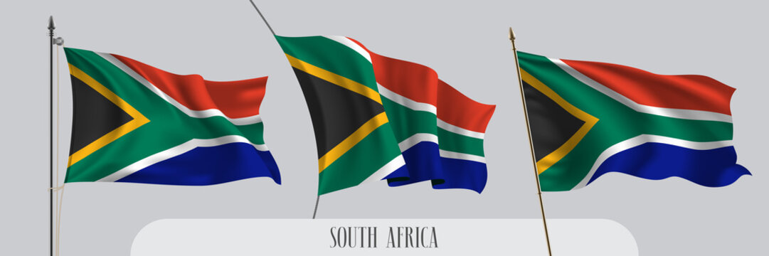 Set of South Africa waving flag on isolated background vector illustration