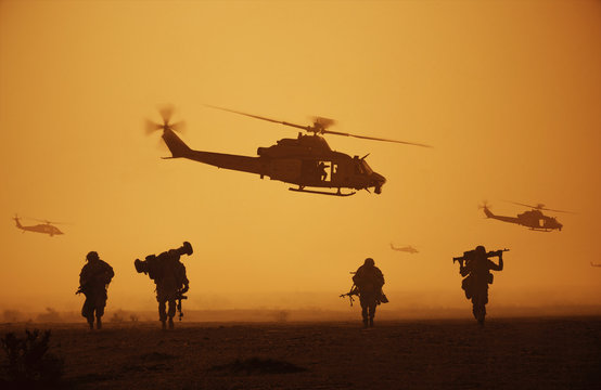 The war is over and military troops, machines and helicopters on the way to return home