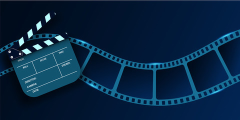 Cinema Flyer Or Poster with Film Strip wave and Clapper Board. 3d movie art blank isolated on blue background. Template For Your Design. Cinematography concept of film industry. Vector illustration.