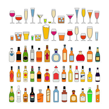 Set of alcohol drinks in glasses isolated on white background vector illustration. Holiday celebration.