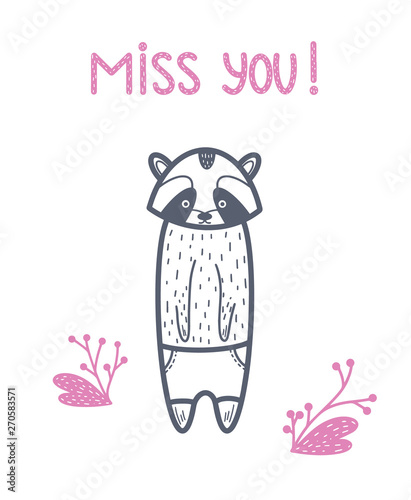 Miss You! Raccoon black vector  Baby illustration for