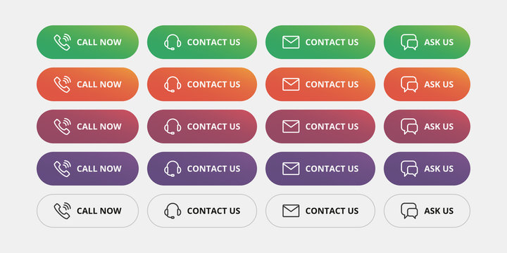 Contact us and call to action buttons - Call now, Contact us, Ask us modern action button. Helpdesk call us button.
