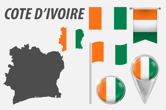Cote d'Ivoire. Collection of symbols in colors national flag on various objects isolated on white background. Flag, pointer, button, waving and hanging flag, detailed outline map and country inside fl