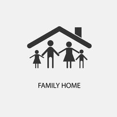 Family home vector icon illustration sign