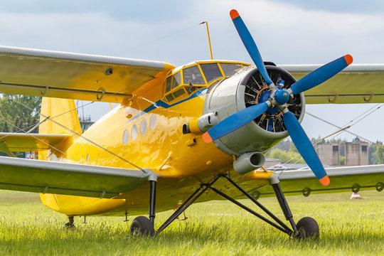 Yellow painted legendary soviet aircraft biplane Antonov AN-2 parked on a green grass of airfield closeup