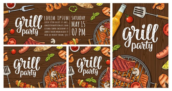 Vertical poster with bbq. Grill menu calligraphic handwriting lettering.