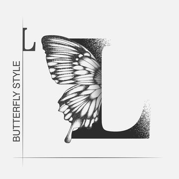 Letter L with butterfly silhouette. Monarch wing butterfly logo template isolated on white background. Calligraphic hand drawn lettering design. Alphabet concept. Monogram vector illustration