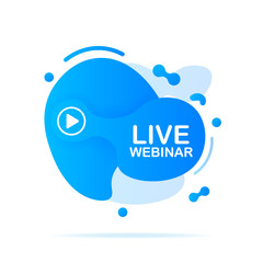 Abstract liquid shape with gradient. live webinar. Vector stock illustration.