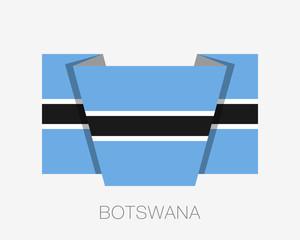 Flag of Botswana. Flat Icon Waving Flag with Country Name on White