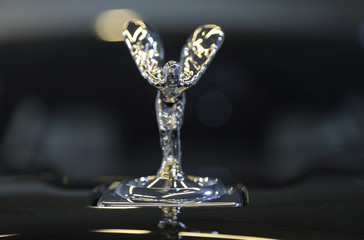 "The ""Spirit of Ecstasy"" bonnet ornament is seen on a Rolls Royce car at the Top Marques fair in Monaco"
