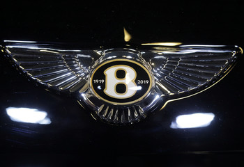 The logo of Bentley carmaker is seen on a car at the Top Marques fair in Monaco
