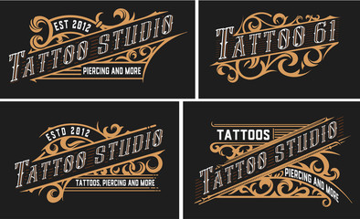 Set of 4 Tattoo logos with vintage ornaments.