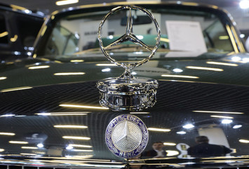 The logo of Mercedes carmaker is seen on a car at the Top Marques fair in Monaco