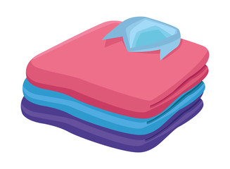 stacked folded clothes icon cartoon