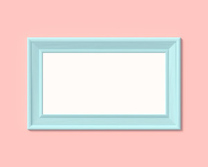 1x2 horizontal landscape picture frame mockup. Realisitc paper, wooden or plastic blue blank for photographs. Isolated poster frame mock up template on pink rose background. 3D render.