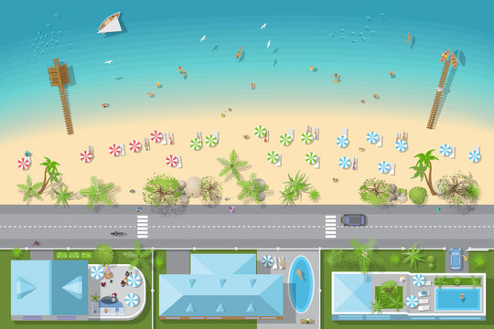 Map of the beach with houses (view from above). Summer holiday. Umbrellas and lounge chairs on the beach. (nobody here) Coastline with buildings, trees, umbrellas (top view)