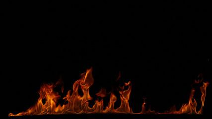 Photo sur Aluminium Flamme Fire flames on black background.