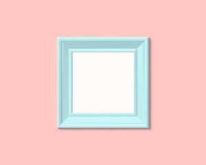 1x1 square picture frame mockup. Realisitc paper, wooden or plastic blue blank for photographs. Isolated poster frame mock up template on pink rose background. 3D render.