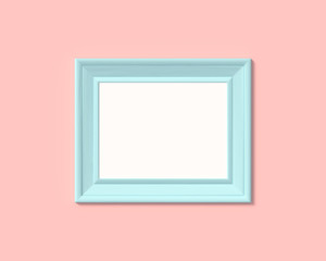 3x4 horizontal landscape picture frame mockup. Realisitc paper, wooden or plastic blue blank for photographs. Isolated poster frame mock up template on pink rose background. 3D render.