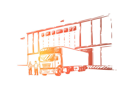 Truck delivering cargo, unloading goods into warehouse, logistics and distribution, wholesale supplier