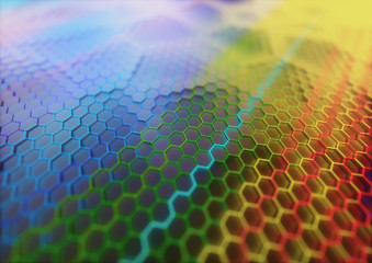 Graphene Structural Background Design Concept. Colored graphene. Conceptual abstract background image with graphene structural pattern.