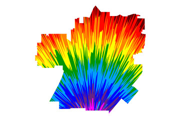Santa Ana city (United States of America, USA, U.S., US, United States cities, usa city)- map is designed rainbow abstract colorful pattern, City of Santa Ana map made of color explosion,