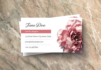 Business Card Layout with Pink Rose Image