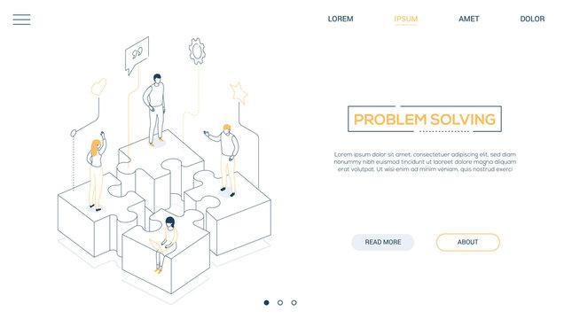 Problem solving - line design style isometric web banner
