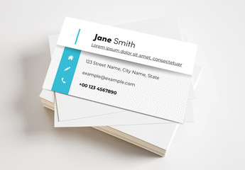 Business Card Layout with Blue Elements and Zig Zag Background