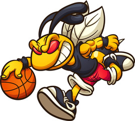Hornet mascot running and playing basketball clip art. Vector illustration with simple gradients. Some elements on separate layers.