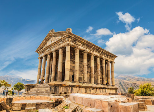 Tourists near the Temple of Garni - a pagan temple in Armenia was built in the first century ad by the Armenian king Trdat