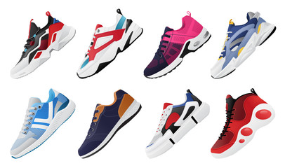 New Fitness sneakers set, fashion shoes for training running shoe. Sport shoes set Wall mural