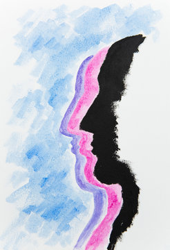 Watercolour painting of three face silhouettes in a row