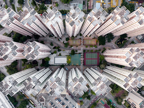 Aerial view of Hong Kong cityscape