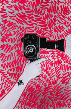 Los res print of a woman's hand with tattoo holding a vintage cine-camera