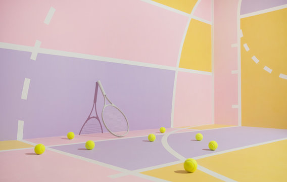 Tennis balls and racket on colorful course.