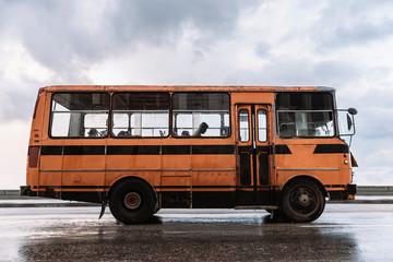 Weathered public transport on street