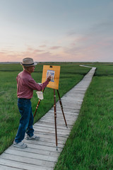 Painter with Easel Outdoors