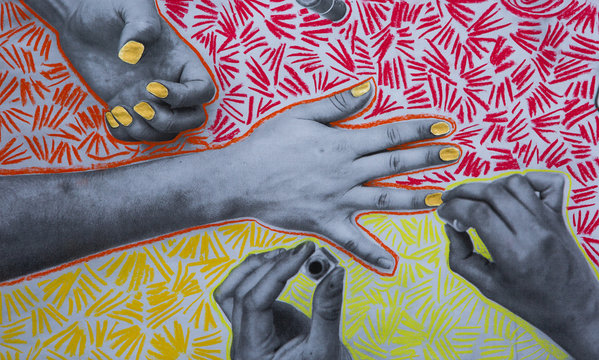 Low res mixed media print of two women painting each others nails with chalk marks added