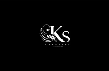 Initial KS letter luxury beauty flourishes ornament monogram logo