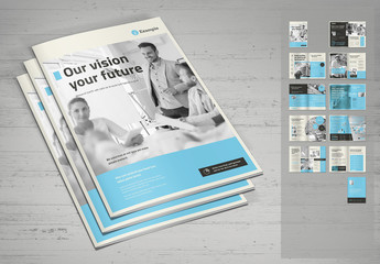 Beige Brochure Layout with Black and Cyan Elements